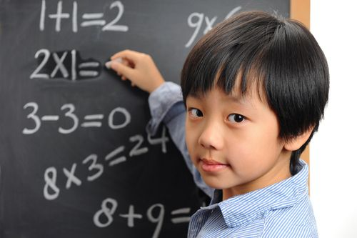 kid blackboard math equations